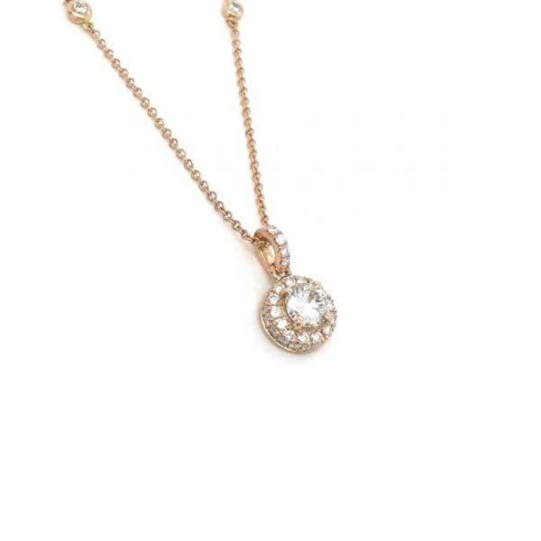18ct rose gold diamond necklace.