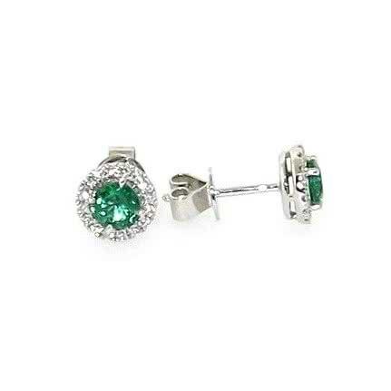 18ct white gold oval emeralds & diamond halo stud earrings
