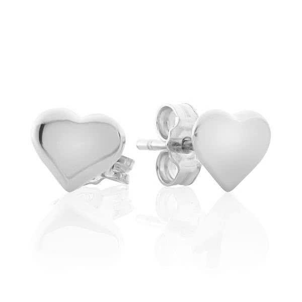 18ct white gold baby heart stud earrings
