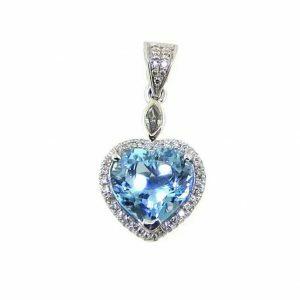 18ct white gold 2.92ct heart aquamarine and diamond pendant
