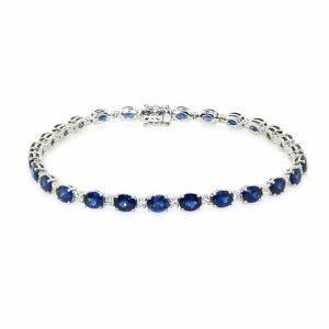 18ct white gold oval blue sapphire & diamond bracelet