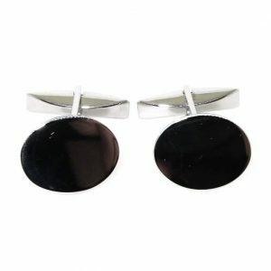 Sterling silver oval shaped cufflinks