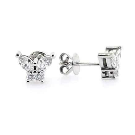 18ct white gold diamond butterfly stud earrings