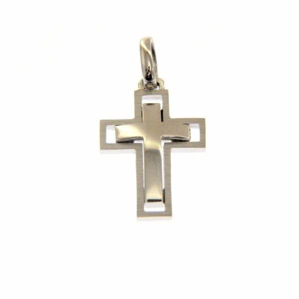 18ct white gold polished and matt finish cross