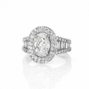 Platinum Oval cut diamond ring