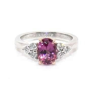 18ct Gold 1.44ct oval shaped pink tourmaline & diamond ring