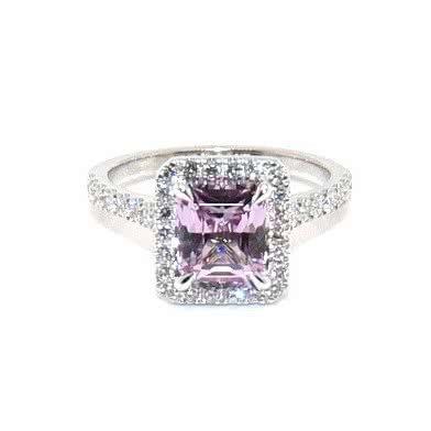 18ct white gold 2.12ct emerald cut pink sapphire & diamond ring