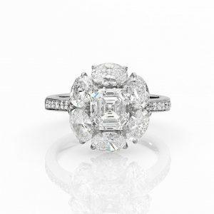 Platinum Square Emerald Diamond Ring