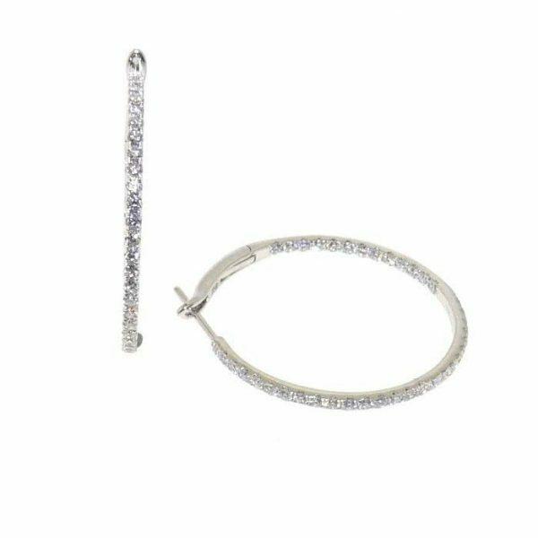 18ct white gold diamond claw set circle hoop earrings