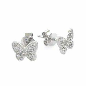 18ct white gold diamond butterfly earrings