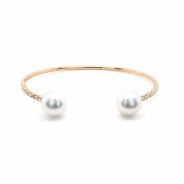18ct rose gold diamond and south sea pearl bangle