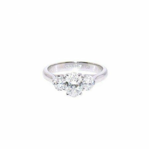 18ct white gold Oval cut three stone diamond ring