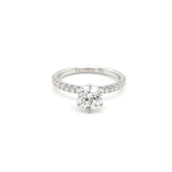 18ct white gold 0.70ct E SI1 round brilliant cut diamond ring
