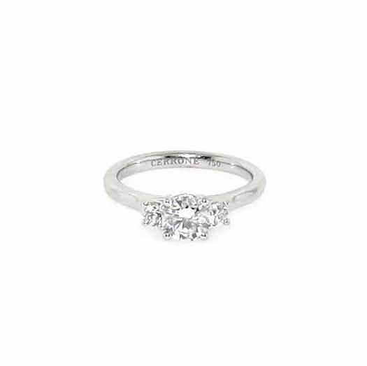 18ct white gold three stone round diamond ring