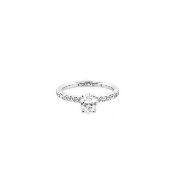 18ct white gold 0.61ct F VS2 oval brilliant cut diamond ring