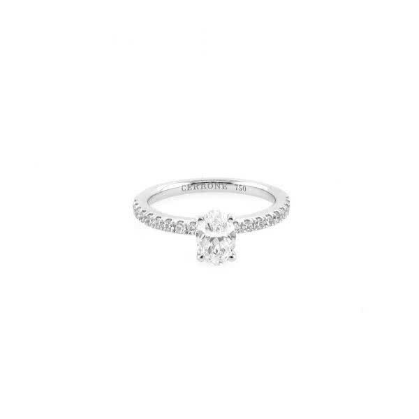 18ct white gold 0.70ct F SI1 oval brilliant cut diamond ring