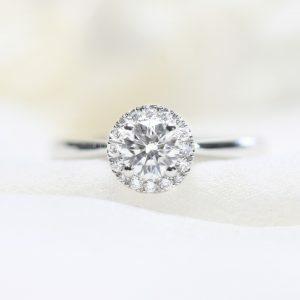 18ct white gold 0.54ct G SI round brilliant cut diamond ring