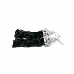 Silver cubic zirconia black spinel tassel earrings