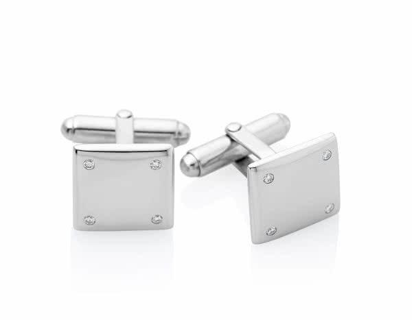 Silver Diamond Square Shape Cufflinks