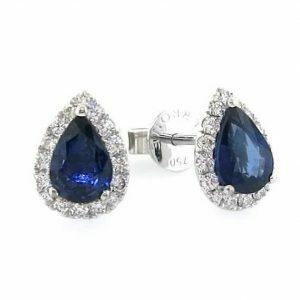18ct white gold pear shape blue sapphire & diamond stud earrings.
