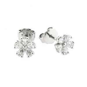Platinum pear shape diamond flower stud earrings