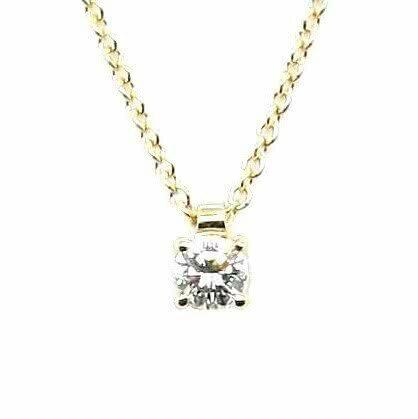 18ct yellow gold 0.18ct round diamond necklace
