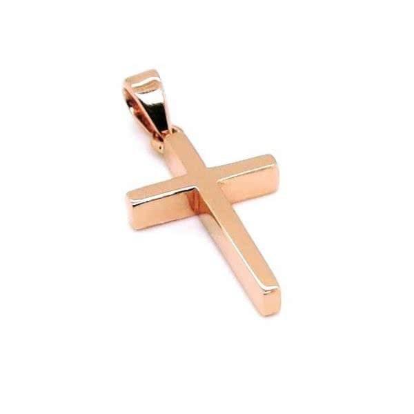 18ct rose gold plain cross pendant