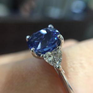 18ct white gold 3.51ct cushion Ceylon sapphire and diamond ring