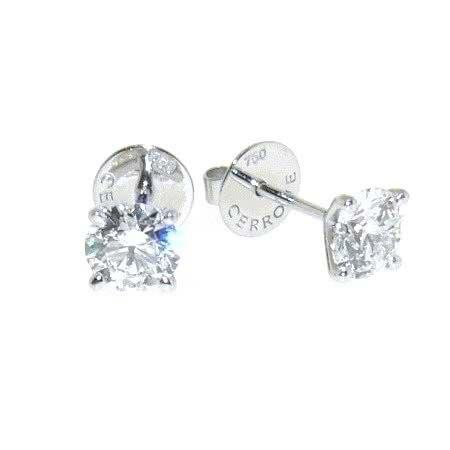 18ct white gold 2=0.48ct round diamond stud earrings