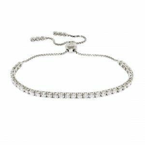 18ct white gold diamond adjustable tennis bracelet
