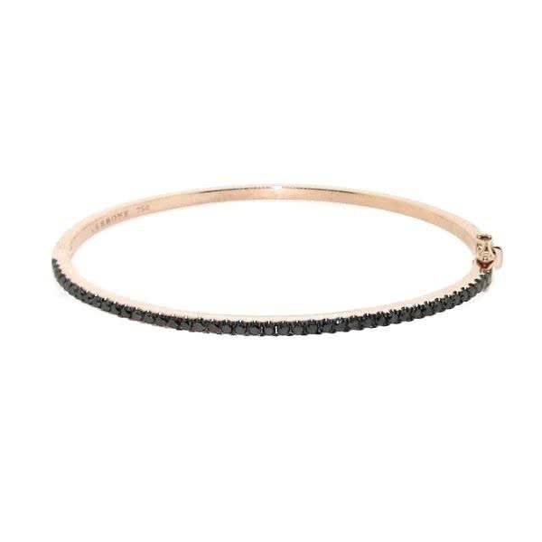 18ct rose gold black diamond bangle