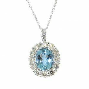 18ct white gold oval aquamarine & diamond necklace