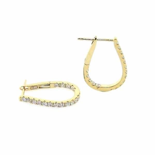 18ct yellow gold diamond pear shape small hoop earrings