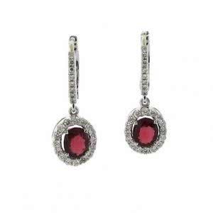 18ct white gold oval ruby & diamond drop earrings