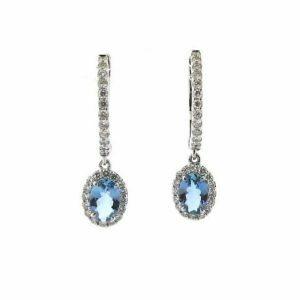 18ct white gold oval santa maria aquamarines & diamond drop earring