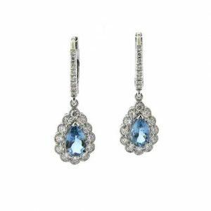 18ct white gold pear shape santa maria aquamarine & diamond drop earrings