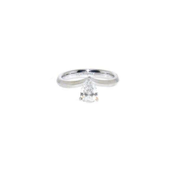 Platinum 0.80ct F SI1 pear shape diamond ring