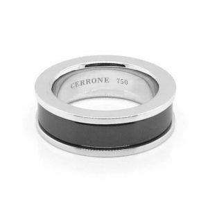 18ct white gold and black ceramic Men's ring