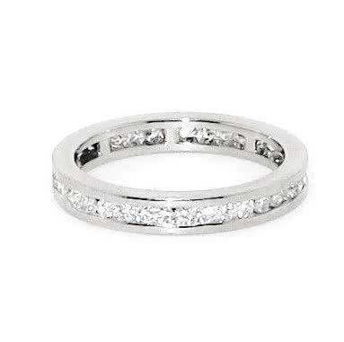 18ct white gold diamond channel set band