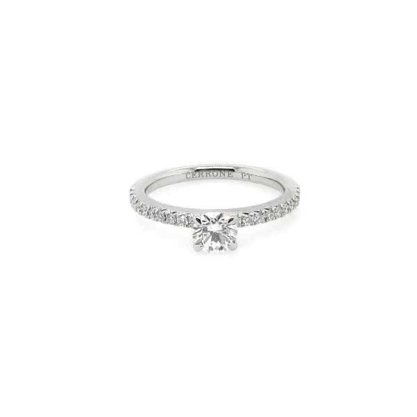 Platinum 0.50ct F SI2 round brilliant cut diamond ring