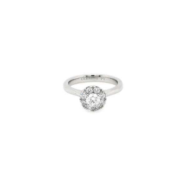Platinum 0.32ct D-F SI round diamond halo ring