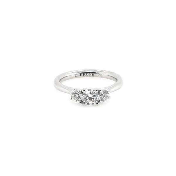 Platinum three stone round diamond ring