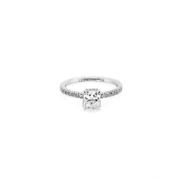 18ct white gold 0.71ct D VS1 radiant diamond ring