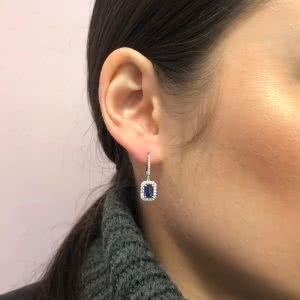 18ct white gold blue sapphire & diamond drop earrings