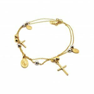 18ct yellow and white gold rosary bracelet