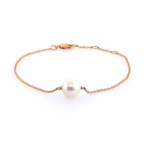 18ct rose gold pearl bracelet