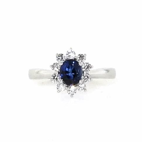 18ct white gold oval blue sapphire & diamond halo ring