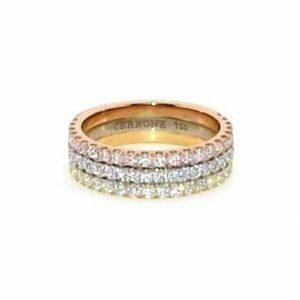 18ct yellow, white and rose gold diamond ring