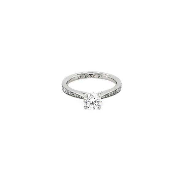 Platinum 0.71ct F SI1 round brilliant cut diamond ring