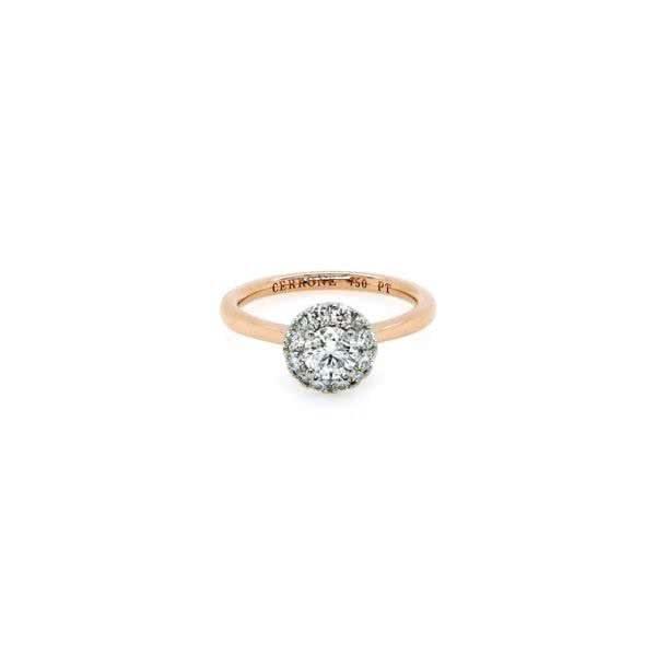 Rose gold & platinum 0.40ct F SI round brilliant diamond ring